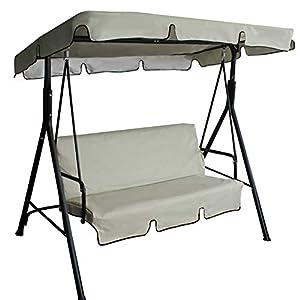 Maalr Juego de fundas de asiento para columpio, funda para cojín para hamaca de exterior de 3 plazas para hamaca, para exterior, impermeable y antipolvo – 150 x 150 cm + 192 x 132 cm (beige)