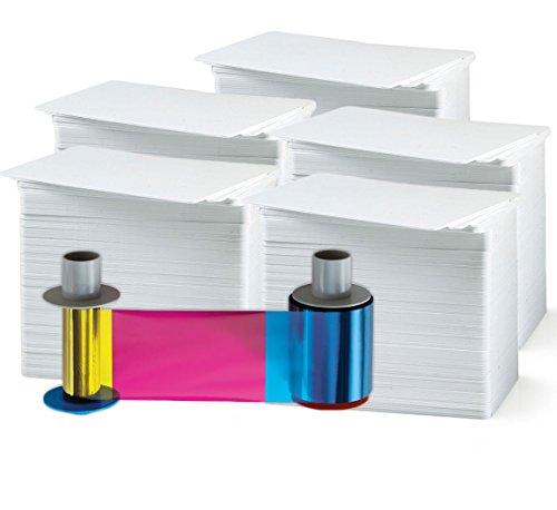 30 Mil Pvc Cards - Fargo 84061 Color Ribbon - YMCFK - 500 prints UV Ribbon & Fargo 84053 1500 Print Retransfer Film with Bodno Premium CR80 30 Mil Graphic Quality PVC Cards - Qty 500