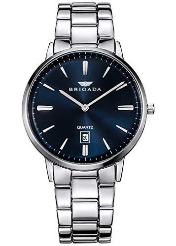 BRIGADA Swiss Brand Men's Dress Watch for Mature Men, Nice Business Casual Blue Silver Men Metal Watch Waterproof