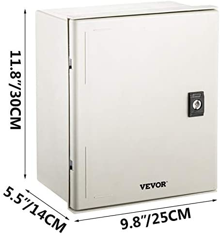 """4172gkPwsNL. AC VEVOR Fiberglass Enclosure 11.8 x 9.8 x 5.5"""" Electrical Enclosure Box NEMA 3X Electronic Equipment Enclosure Box IP65 Weatherproof Wall-Mounted Electrical Enclosure With Hinges & Quarter-Turn Latches     11.8 x 9.8 x 5.5"""" Fiberglass Electrical Enclosure Box The electrical box is molded from durable fiberglass reinforced polyester (FRP). With a sophisticated lock core, high-strength hinge, sealing rubber strip, and IP65 protection level to well-protect the internal electrical in harsh environments. It is ideal for protecting equipment from harsh environments and tampering. It is widely used for indoor and outdoor applications to protect circuits from liquids and corrosion, such as electricity, construction, hotel, and other industries.key Features Fiberglass Reinforced Polyester The electrical box features fiberglass reinforced polyester construction with high toughness, resistance to pressure, corrosion, and rust. The enclosure is impervious to dents. Thickened Dust Lock The inner lock core uses metal to prevent damage caused by excessive force. The durable and reliable cabinet door lock is applied for a convenient opening with longer service life. High Strength Hinge The electrical box adopts reinforced hinges, which will not be damaged if it is repeatedly opened and closed, and ensure that the box door is not easily broken by extrusion. Rubber Sealing Strip The sealing rubber strip is close to the box door with strong sealing performance to prevent dust and raindrops from dripping into the box and causing electricity leakage. IP 65 & Protective The IP65 waterproof design effectively blocks splashing water, rain, dust, snow, oil into the electrical enclosure and causing damage. It keeps your equipment well-protected in harsh environments."""