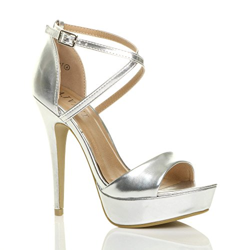 Ajvani Women High Heel Cross Over Sandals Size Silver Metallic