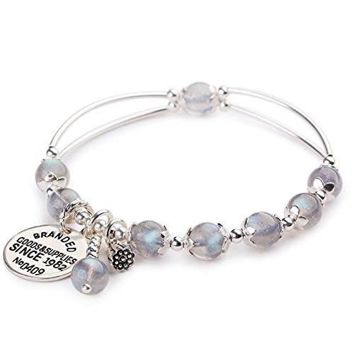Z&HA Women's Charm Bracelet Labradorite Retro Moonstone Bracelets S925 Silver Pendant Natural Grey Stretchable Crystal Jewelry Fine -
