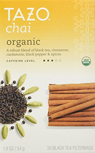 Tazo Organic Chai, Spiced Black Tea, 20-Count Tea Bags (Pack of 6) (Tazo Chai Tea)