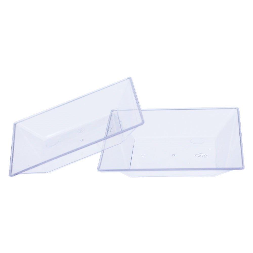 Exquisite Plastic Mini Square Appetizer Plates - 100 Ct Square plastic Dessert Plates - 2.95 Inch. x 2.95 Inch. (Clear) by Exquisite (Image #3)