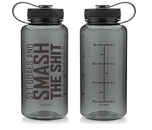 34 oz Inspirational Fitness Workout Sports Water Bottle with Time Marker | Measurements | Goal Marked Times For Measuring Your H2O Intake, BPA Free Tritan (Smash Graph Blk)