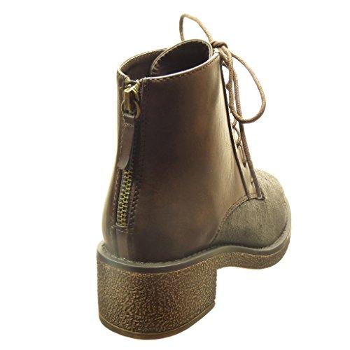 Angkorly - damen Schuhe Stiefeletten - bi-Material - Hohe - Spitze - Linien Blockabsatz high heel 4.5 CM - Braun