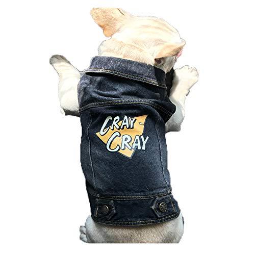 Riveroy Retro Vintage Pet Dogs Cats Denim Jacket Lapel Blue Jeans Vest Coat,Cool Costume clothes for Small Medium Puppy Dog (L, Black) Review