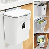 壁掛けゴミ箱 キッチンゴミ箱 ぶら下げごみ箱 9L 取り付け可能な屋内コンポストバケット 食器棚/バスルーム/ベッドルーム/オフィス/トイレ (白)