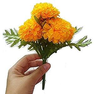 MARJON FlowersArtificial Yellow Marigold Bunch, Artificial Flowers, Marigold Flowers, Yellow Flower, Marigold Yellow, Calendula Officials (5 stem per 1 case) 4