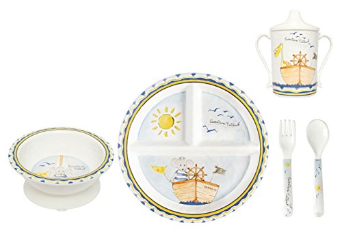 Baby Cie Melamine Plate, Sippy Cup, Bowl, Fork & Spoon, 5 Piece Set - Adventure Awaits