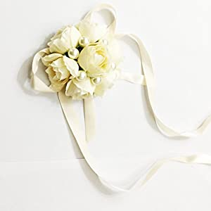One One Bridal® Wedding Bridal Women Girl Bridesmaid Exquisite Floral Hand Wrist Flower (T1218-Champagne) 4