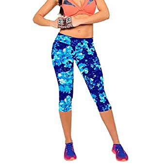 Shensee High Waist Fitness Yoga Sport Pants Printed Stretch Leggings (S, blue)