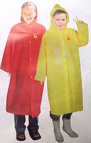 16 Waterproof Poncho PEVA Reusable Hooded Children's RAIN Coat Unisex Fit's Kids Ages 7-12 Years Old Wholesale Lot Bulk for Sporting Events, Camping, Traveling, Concerts ()