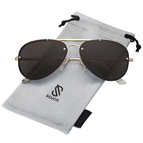 (SOJOS Rimless Aviator Sunglasses for Men and Women Metal Frame Mirrored Lens TRENDALERT SJ1105 with Gold Frame/Grey Lens )