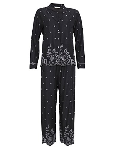 Cyberjammies 1159 Women's Nora Rose Black Floral Embroidered Modal PJ Pyjama Set