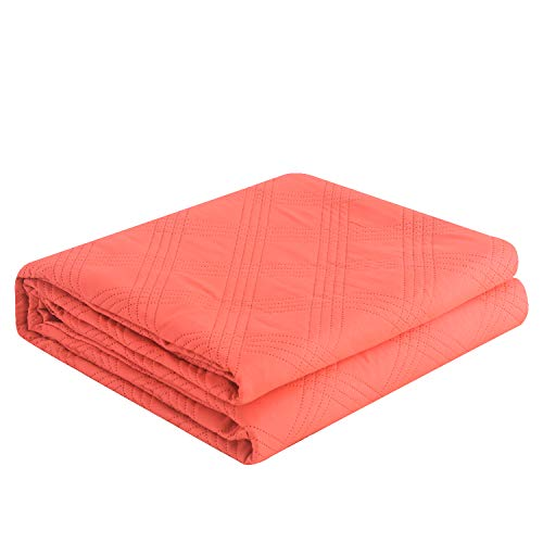 Coral, 68x86inch Machine Washable LITHER bedspreads Twin Size Oversized Quilt Coverlet Checkered Solid Color