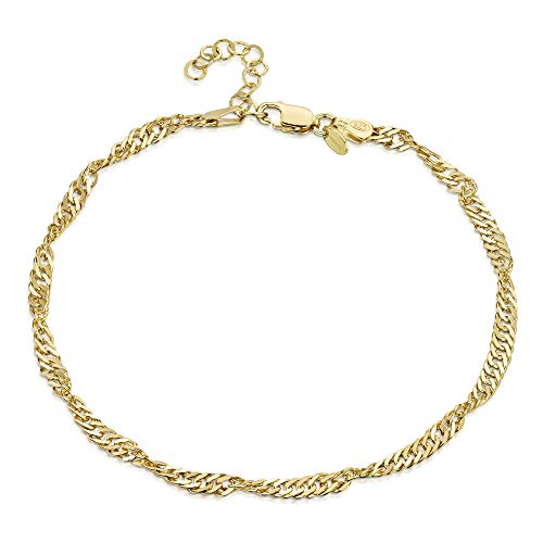 18K Gold Plated on 925 Fine Sterling Silver 3.6 mm Adjustable Anklet - Singapore/Prince of Wales Chain Ankle Bracelet - 9