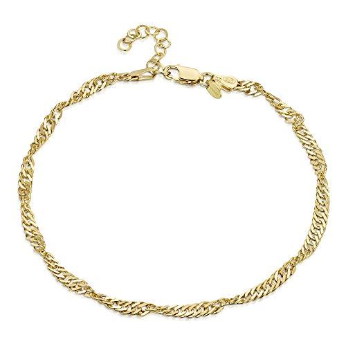 Gold Anklet Designer (18K Gold Plated on 925 Fine Sterling Silver 3.6 mm Adjustable Anklet - Singapore/Prince of Wales Chain Ankle Bracelet - 9