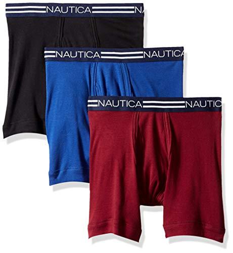 Nautica Men's Classic Cotton Boxer Brief Multi Pack, Black/Tawny Port/Ocean Lapis, Large ()