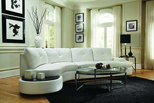 Talia Conversation Sectional Sofa with Built-in Table White ()