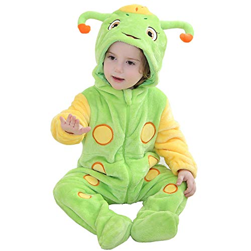 Kirmoo Baby Caterpillar Costume Halloween Cosplay Romper Animal Onesie Pajamas for Kids (70 (for 3~6 Months,Height -