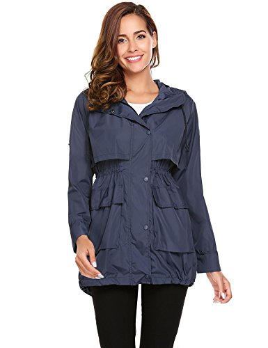Drawstring Women Lightweight color Solid Raincoat Sleeve Jackets with Champlain Long Meaneor Hoodie 6Hwfnxna
