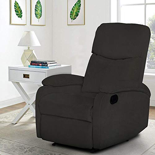 Windaze Recliner Chair High Back Living Room Single Fabric Comfortable Sofa Home Theater Seating Black