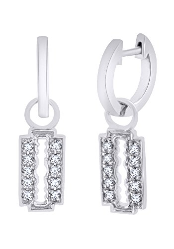(Round Cut White CZ Gothic Razor Blade Dangle Earrings In 14K White Gold Over Sterling Silver)