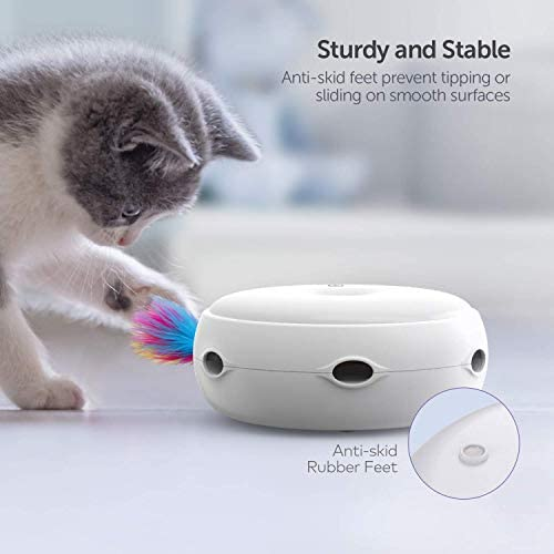 VAVAPet Interactive Cat Toys, Cat Toys Three Modes Day&Night Play Automatic Randomly Stimulates Cat's Senses Easy Replace Feather(Included Battery&Spare Feather) (Full Unit) 5