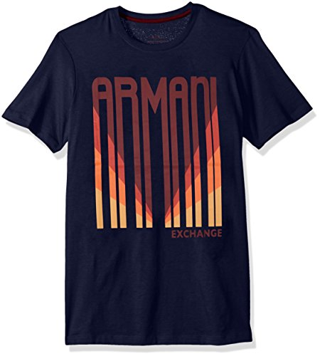 A|X Armani Exchange Men's Logo barcode Tee, Dark Sea, (Bar Logo Tee)