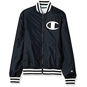 Champion LIFE Men's Satin Baseball Jacket, Solid Black, L