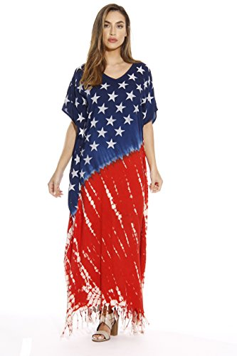 Riviera Sun 21627-S American Flag Caftan/Caftans/Swimsuit Cover up