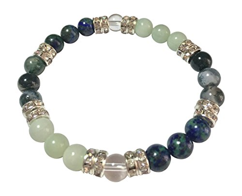 Diabetic Best Friend Natural Chrysocolla, Amazonite, & Moss Agate Beaded Stretch Bracelet