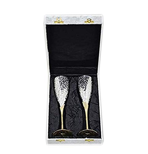 JK-690-0366 Set of 2 Silver Plated Brass Wine Goblets with original Red Velvet Box, Silver Plated Brass Champagne Flutes, Engraved Wine cups, Engraved Champagne Flutes, Silver Plated goblets, Brass Wine cups, Gift Set, Embossed Brass Goblet, Silver wine
