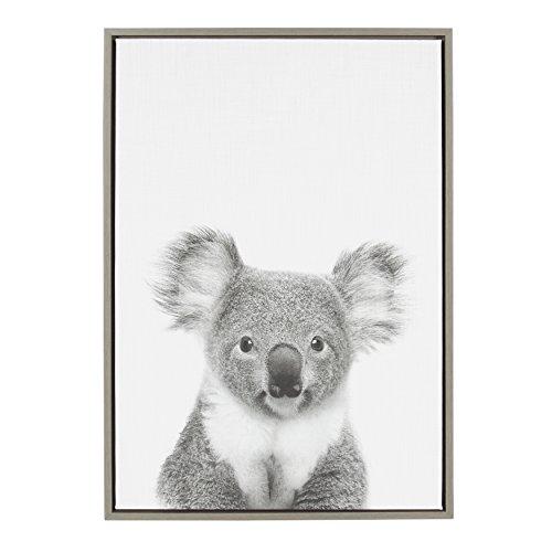 Kate and Laurel - Sylvie Koala Animal Print Black and White Framed Canvas Wall Art by Simon Te Tai, Gray 23x33