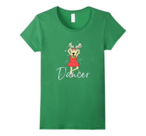 Womens Dancer Cute Reindeer Tshirt Funny Christmas Group Set Tee XL Grass (Dancer Reindeer)