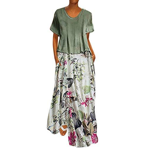 Women Vintage Print Patchwork O-Neck Two Pieces Plus Size Pockets Maxi Dress