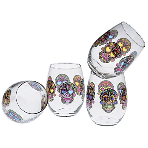 Culver Stemless Wine Glasses, 15-Ounce, Set of 4 (Sugar Skulls Clear) (Muertos Dia De Los Dinnerware)