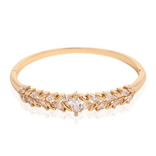 RIAH FASHION Sparkly Rhinestone Bridal Wedding Statement Bracelet - Cubic Zirconia Crystal Stretch Memory Wire/Adjustable Wrist Band Cuff/Hinge Bangle/Delicate Star Heart Flower (Laurel Leaf - - Bracelet Fashion Hinge