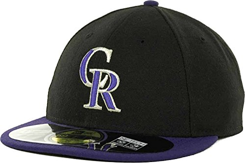 Colorado Rockies Low Crown AC Performance On-Field MLB 59FIFTY Fitted Cap Hat (Black/Purple, 7 5/8)