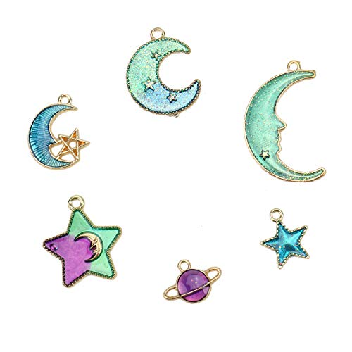 JETEHO 30Pcs Assorted Gold Plated Enamel Moon Star Charm Pendant for DIY Jewelry Making Accessories, 6 Diffenet Styles