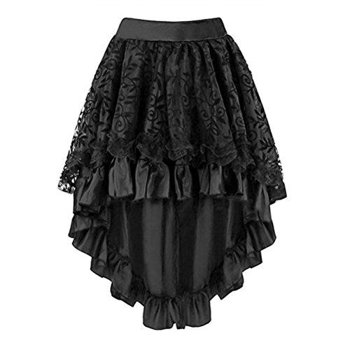mi Gothique Dguisement FuweiEncore Dentelle Multi Femme Noir Lacets Jupe Vintage Steampunk Long Mousseline Jupe Couches AtqtHnYxw