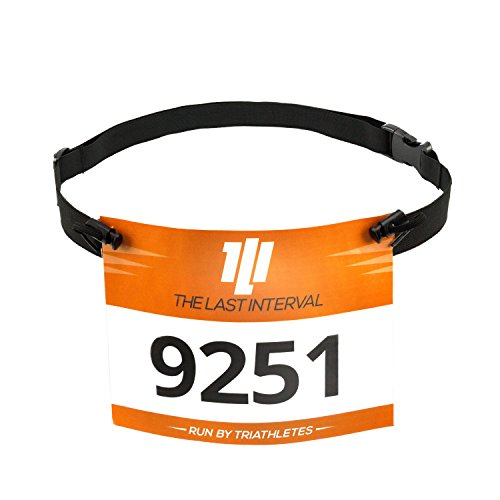 Running Number - TLI Race Number Belt for Running, Cycling, and Triathlon - Lightweight (Black)