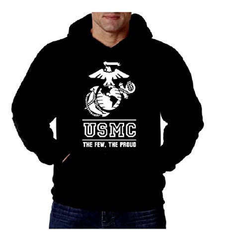 Lucky Ride USMC LOGO SWEATSHIRT THE FEW THE PROUD THE MARINES MENS HOODIE PULLOVER (X-Large)