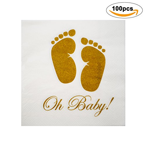 Baby Shower Napkins | Oh Baby Gold Feet Design | 100 Pack | 3-Ply | White Paper | Cocktail Dinner Lunch Boy Girl Baby Shower Birthday Holiday Beverage | Party Supply | Disposable Tableware Decorations (Sprinkles Giraffe)