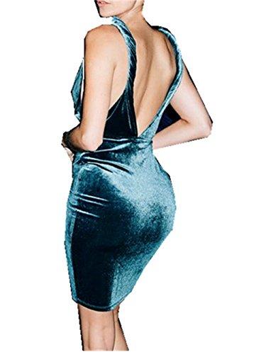 [SRYS 2017 Stitching Deep V Halter Gradient Color Suede Burst Section Dress (L, Blue)] (Adult Grecian Blue Princess Costumes)