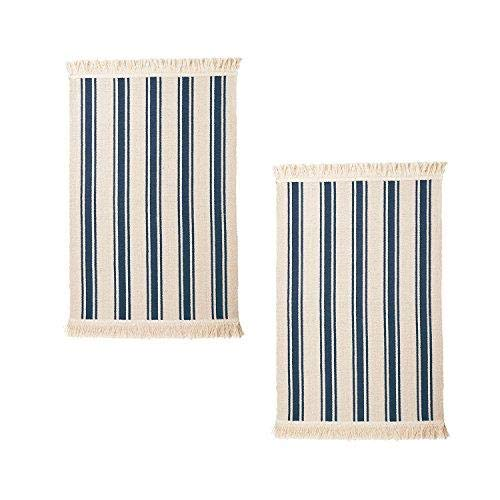 IKEA Flatwoven Cotton Area Rug with Color Stripes, Machine Washable for Kitchen Door Mat Runner (2, Blue Stripe)