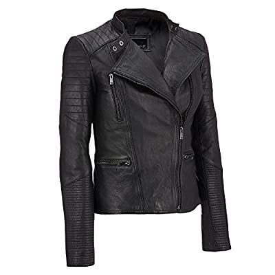 Wilsons Leather Womens Asymmetric Lamb Moto Jacket W/ Quilting Details