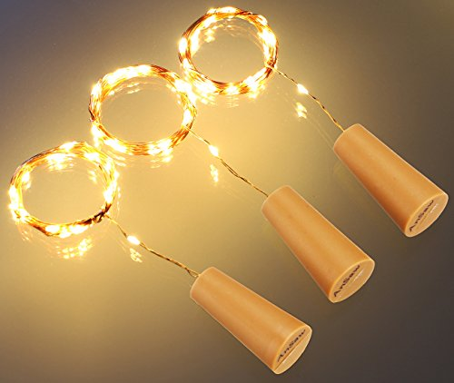 [AnSaw Spark I Cork Shaped Wine Bottle Light Pro, Battery Powered, 20-LED,Waterproof Starry String Lights, Flexible Copper Wire, 3-Pack, Warm] (Womens Halloween Ideas)