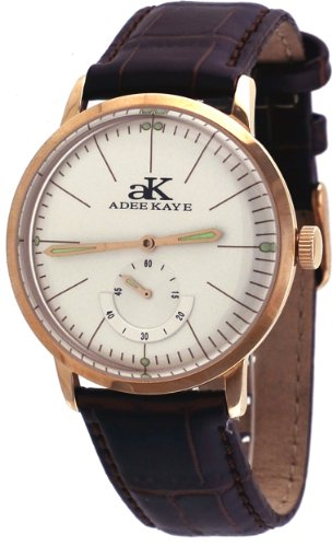 Adee Kaye #AK9044-MRG Men's Retro Vintage Rose Gold Tone Leather Band Automatic ()